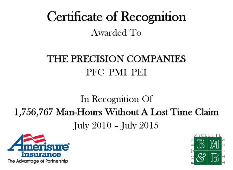 Precision Certificate of Safety Recognition July 2015