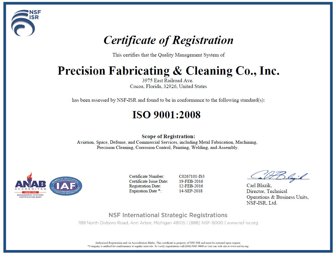PFC ISO 9001-2008 Certificate 021916